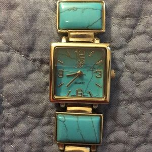 Jewelry - Turquoise watch, bracelet style. Silver tone.